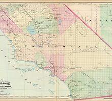 Vintage Map of Southern California (1874) by BravuraMedia