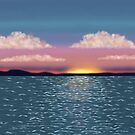 Tranquil Ocean Sunset Print, Poster, Throw Pillow, iPhone Case, Samsung Case, iPad Case, Tote Bag by Linda Allan