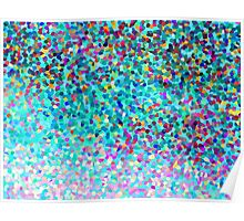 Aqua Blue Multicolored Abstract Art Shapes Pattern Poster