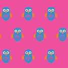 Blue & Orange Owl (Pattern 2) by Adamzworld