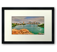 Stepping into the harbour .. northside Framed Print