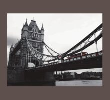 London Bridge Black & White with Red Bus Kids Clothes