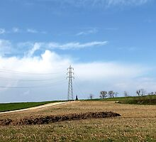 field with electricity pylon by spetenfia