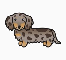 Isabella And Tan Dapple Long Coat Dachshund Cartoon Dog by destei