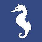 White Seahorse Silhouette On Navy Blue by destei