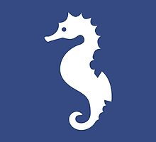 White Seahorse Silhouette On Navy Blue by destei