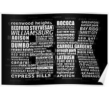 Typographic BK Brooklyn New York Poster
