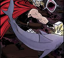 Thor Fighting Space Sharks by sanchezgoeswest