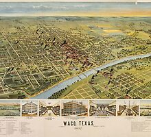 Vintage Pictorial Map of Waco Texas (1892) by BravuraMedia