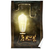 Steampunk - Alphabet - L is for Light Bulb Poster