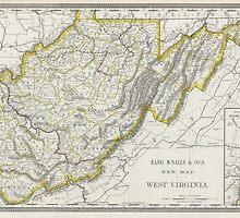 Vintage Map of West Virginia (1889) by BravuraMedia