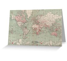 Vintage Map of The World (1918)  Greeting Card