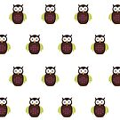 Brown & Green Owl (Pattern) by Adamzworld