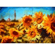 Sunflowers Van Gogh Style Photographic Print