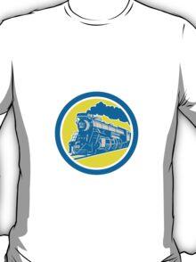 Steam Train Locomotive Circle Retro T-Shirt