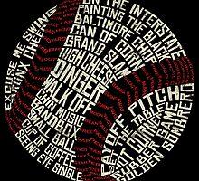 Baseball Slang Words Calligram by icoNYC