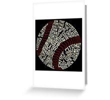 Baseball Slang Words Calligram Greeting Card
