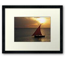 Red Sails in the Zanzibar Sunset, Tanzania Framed Print