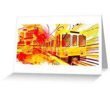 Yellow Subway Background Greeting Card