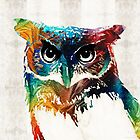 Colorful Owl Art - Wise Guy - By Sharon Cummings by Sharon Cummings