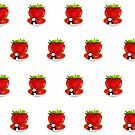 Panda & Strawberries (Pattern) by Adamzworld
