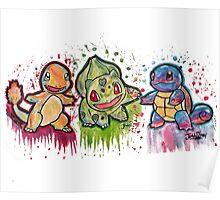 Pokemon Kanto Starters Spraypaint tshirts + more Poster