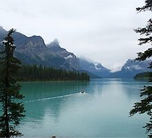 Canoeing into the unknown, Maligne Lake by Funkylikeabee