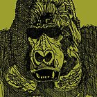 Gorilla Pen and Ink Drawing by John Hopkins