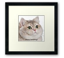 Heavy Breathing Cat- Improved Framed Print