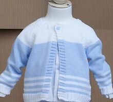 29% off on FINA EJERIQUE WHITE AND BABY BLUE BOYS CARDIGAN by masielbebeuk