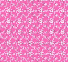 Pink And White Hibiscus Hawaiian Pattern by BailoutIsland
