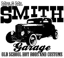 Mrs.& Mr. Smith Hot-Rod Garage Photographic Print