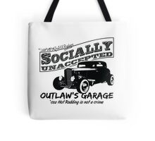 Outlaw's Garage. Socially unaccepted Hot Rod light bkg Tote Bag
