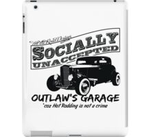 Outlaw's Garage. Socially unaccepted Hot Rod light bkg iPad Case/Skin
