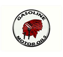 Red Indian Gasoline vintage sign reproduction crystal vers. Art Print