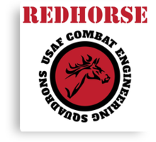 Cool Horseman Redhorse USAF Combat Squadron Engineering T-shirt Canvas Print