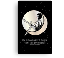 Gatsby Girl swinging on the Moon with F Scott Fitzgerald Quote Canvas Print