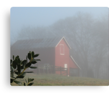 Red Barn Through the Mist... products  Canvas Print