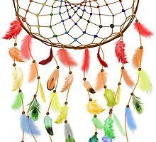 Rainbow Feathered Dream Catcher by MichelleElaine Smith
