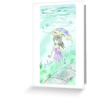 Girl in her water bowl Greeting Card