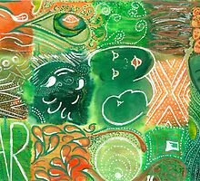 Far - green and orange ink on watercolour by Louise Ebrey Hill