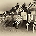 Wells beach huts in sepia by Mark Bunning