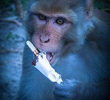 Licking His  Ice Cream by Richard Shakenovsky
