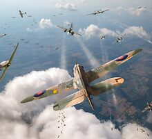 Headlong attack (Hurricanes over Weymouth) by Gary Eason + Flight Artworks