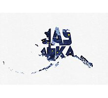 Alaska Typographic Map Flag Photographic Print