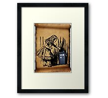 Little Girl and Police Public Call Box  Framed Print