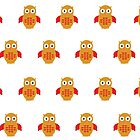 Yellow & Red Owl (Pattern) by Adamzworld