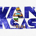 Kansas Typographic Map Flag by A. TW