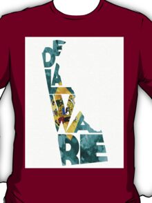 Delaware Typographic Map Flag T-Shirt