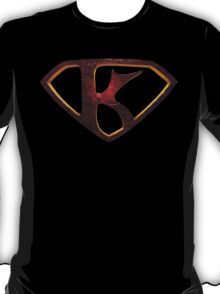 """The Letter K in the Style of """"Man of Steel"""" T-Shirt"""